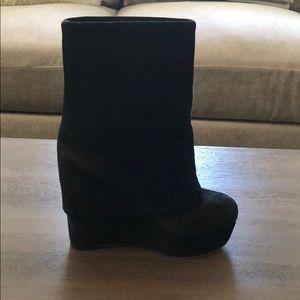 Alice + Olivia black suede platform boots